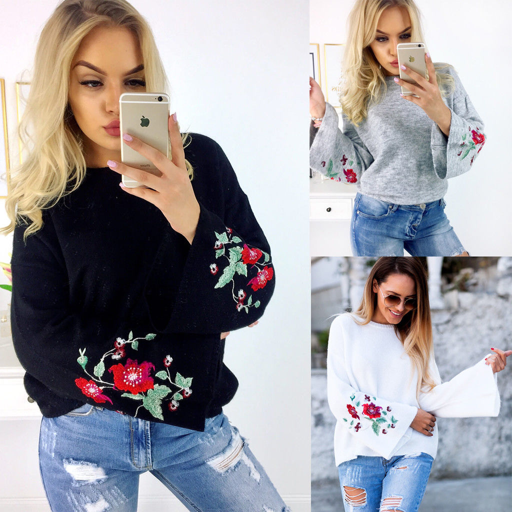 Embroidery Floral Sweater Fashion Women Long Sleeve Loose Sweater Knitted Coat Outwear Casual New