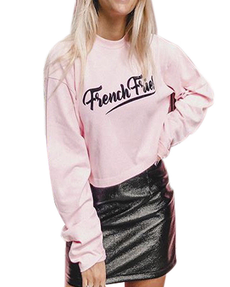 New 2017 Women Long Sleeve O-neck Pullover Short Tops T shirt Casual Letter Pink Color Tee Shirt