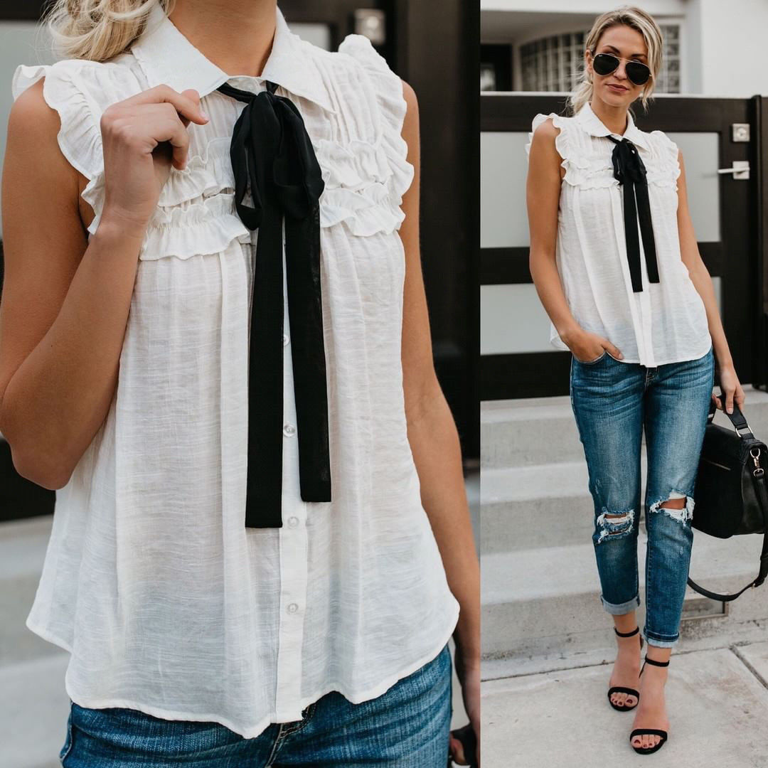 Fashion Ladies Women Sleeveless Chiffon Shirt Bowtie Ruffled Blouse Ladies Casual Loose Tops