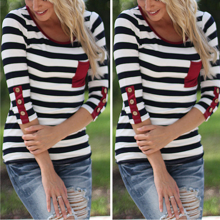 Fashion Women Casual Three Quarter Sleeve Striped T Shirt Tops Ladies 2017 New Pocket O-neck Tee Shirt Tops