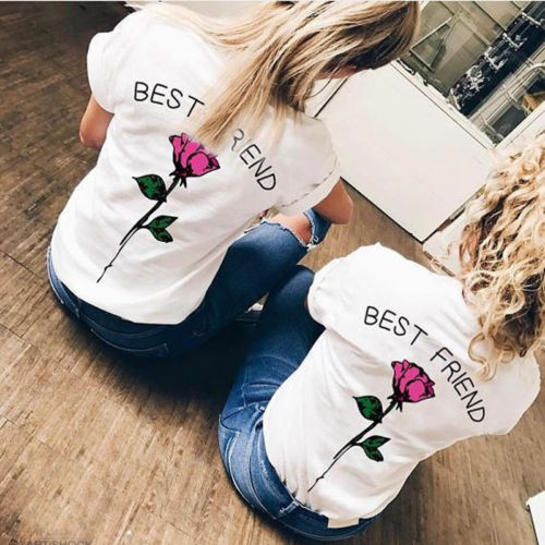 New 2018 Summer Women BEST FRIEND Floral Tops T shirt Ladies Short Sleeve T-Shirt Tee Shirt Plus Size S-3XL