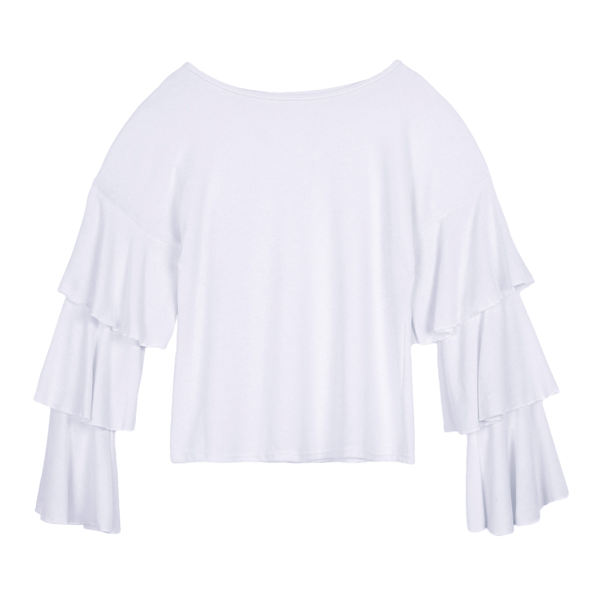 New 2018 Fashion Women Ruffle Long Sleeve Tops T shirt Pullover Solid White Tee Shirt