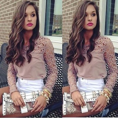 Fashion Women's Loose Casual Tops T shirt 2017 New Hole Lace Floral Long Sleeve O-neck Tee Shirt