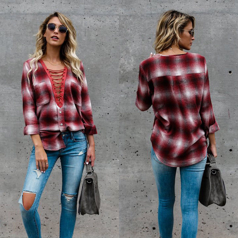 New 2017 Women Bandage Cross Deep V neck Long Sleeve Plaid Shirt Casual Loose Cotton Lace Tops T Shirt