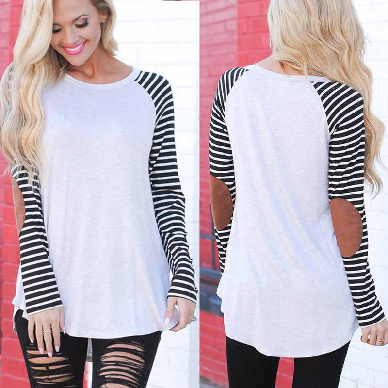 New 2017 Women Casual Striped Long Sleeve Tops T-Shirt Loose Fashion Cotton O-neck Tee Shirt