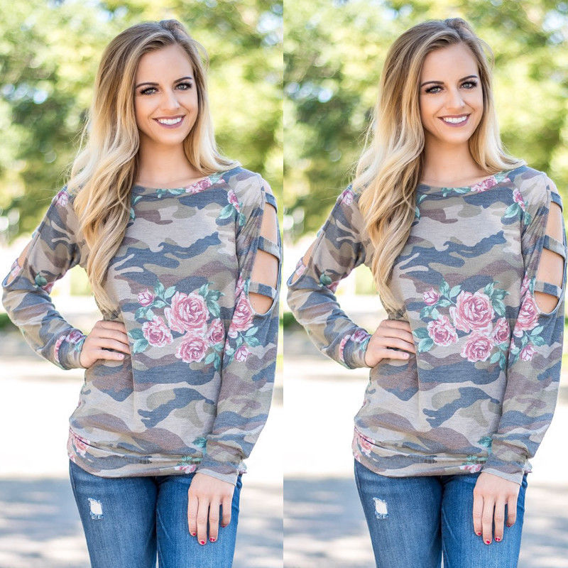 Fashion Women Ladies Camouflage Summer Autumn Casual Cotton Hollow Out Long Sleeve T Shirt Tops