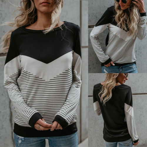 New 2018 Fashion Women Casual Long Sleeve Striped Patchwork Jumper Pullover Tops T Shirt