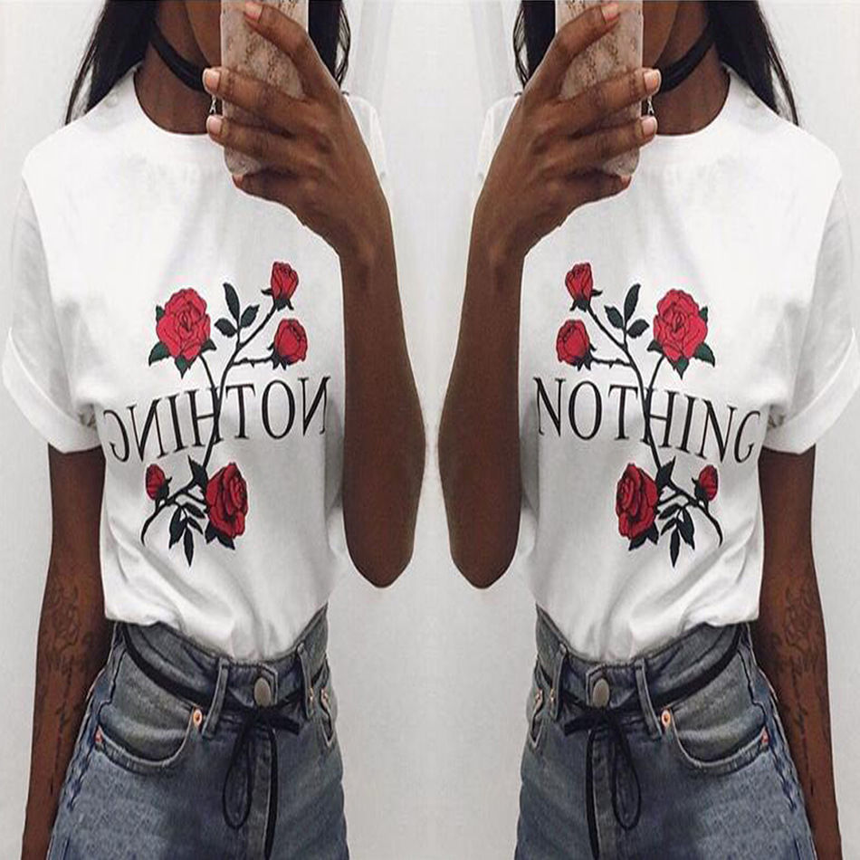 Fashion Women's Lady Summer Short Sleeve Loose Casual Shirt Floral Nothing Letter Print Tops White T-Shirt