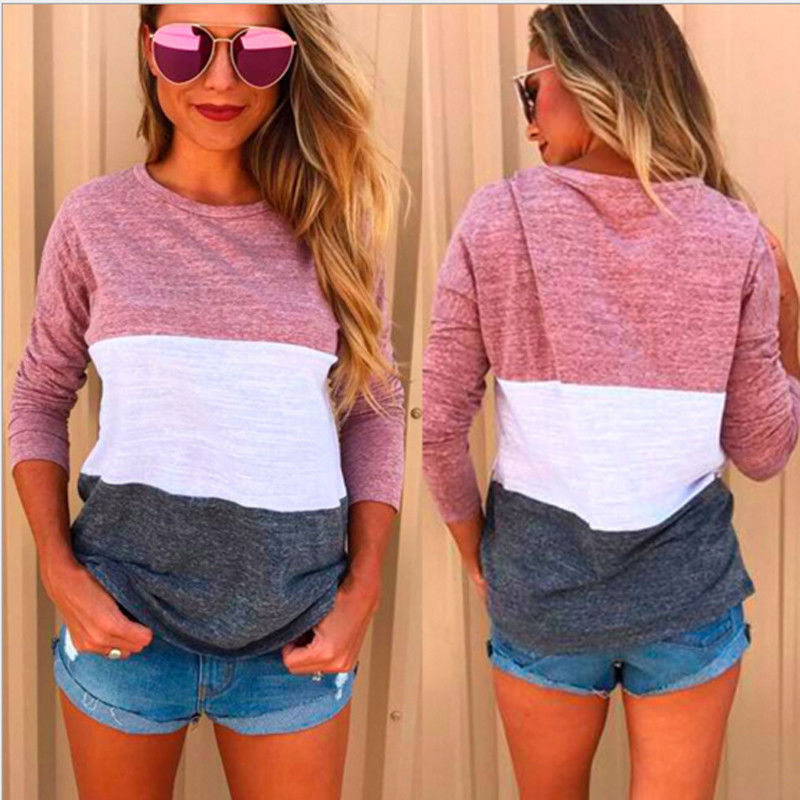 New 2017 Womens Casual Long Sleeve T shirt Pullover Autumn Winter O neck Color Patchwork Tops