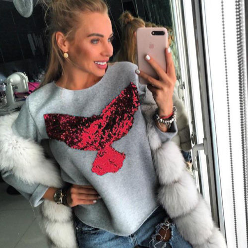 Fashion Women's Sequins Eagle Long Sleeve O-neck T shirt Tops 2017 New Loose Tee Shirt
