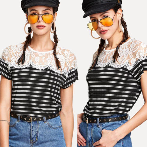 New 2018 Women Summer Casual Short Sleeve Lace Floral Patchwork Striped Tops Tee Shirt Loose T-Shirts