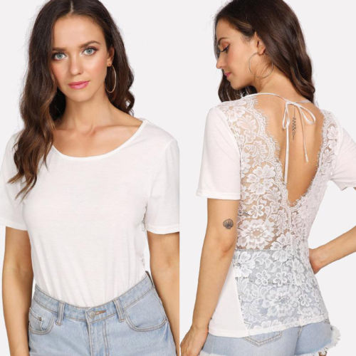 Fashion Women Summer Back Deep V Short Sleeve Tops T-Shirt Casual Lace Patchwork Solid Tee Shirt