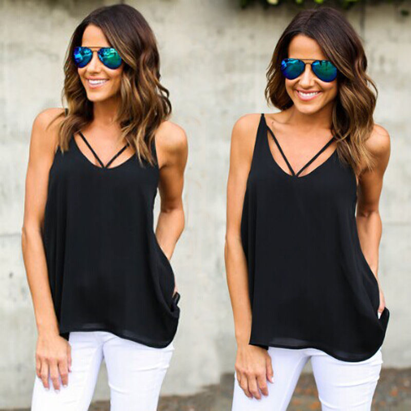 Sexy Women Summer V neck Tops Sleeveless Back Hollow Out Bandage Cross Shirt Casual Tops T-Shirt