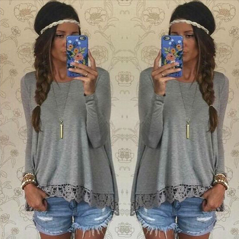 Fashion Women Ladies Long Sleeve Lace Floral O-neck Tee Shirt Tops New 2017 Casual Loose Tops