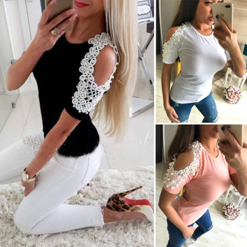 Fashion Women Ladies Summer T shirt Cotton Lace Patchwork Short Sleeve Tee Shirt Casual Shirt Tops T-Shirt