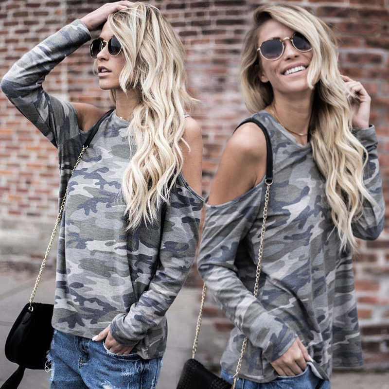 Fashion Women's Camouflage Hollow Out Long Sleeve LooseT shirt 2017 New Casual Shirt Summer Tops T-Shirt