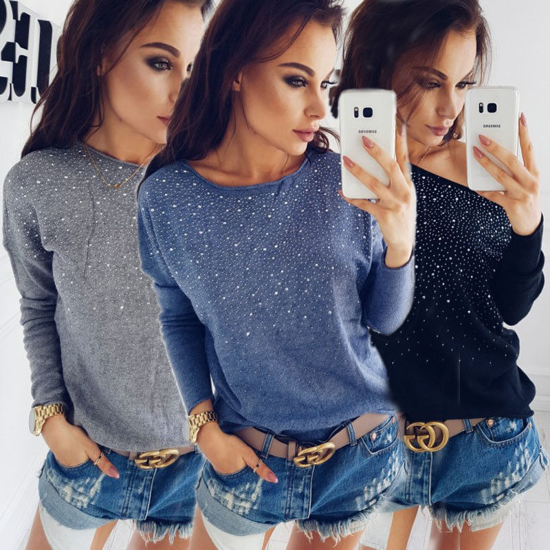 Fashion Women Diamond Loose Long Sleeve O-neck Knitted Sweater Jumper Outwear Coat Knitwear