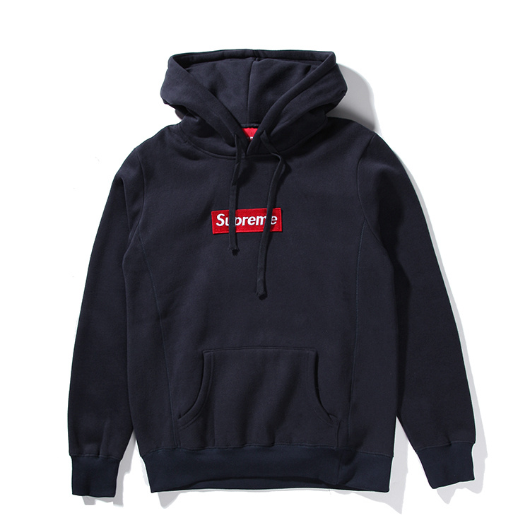 Supreme Box Logo Hooded Sweatshirt Pullover Navy
