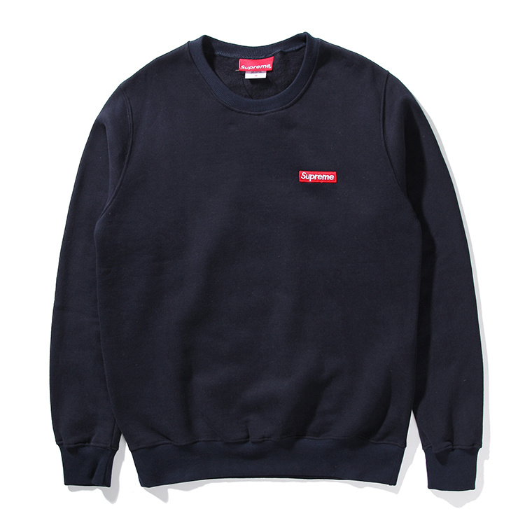 Supreme Small Box Pique Crewneck Sweatshirt Navy