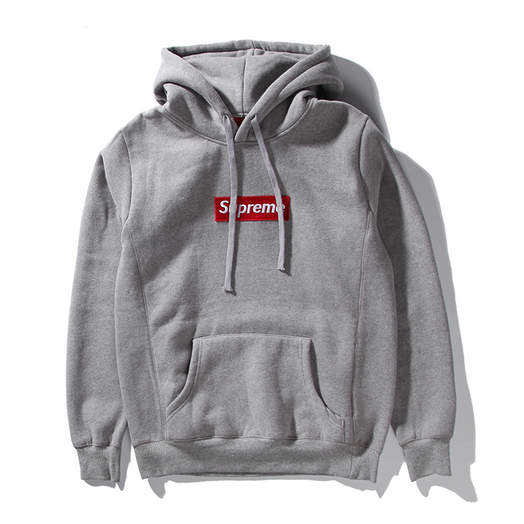 Supreme Box Logo Hooded Sweatshirt Pullover Gray