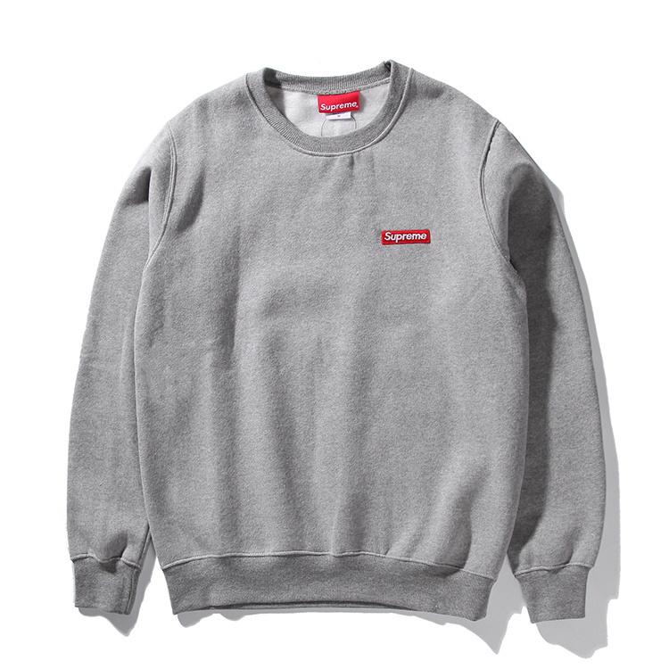 Supreme Small Box Pique Crewneck Sweatshirt Gray