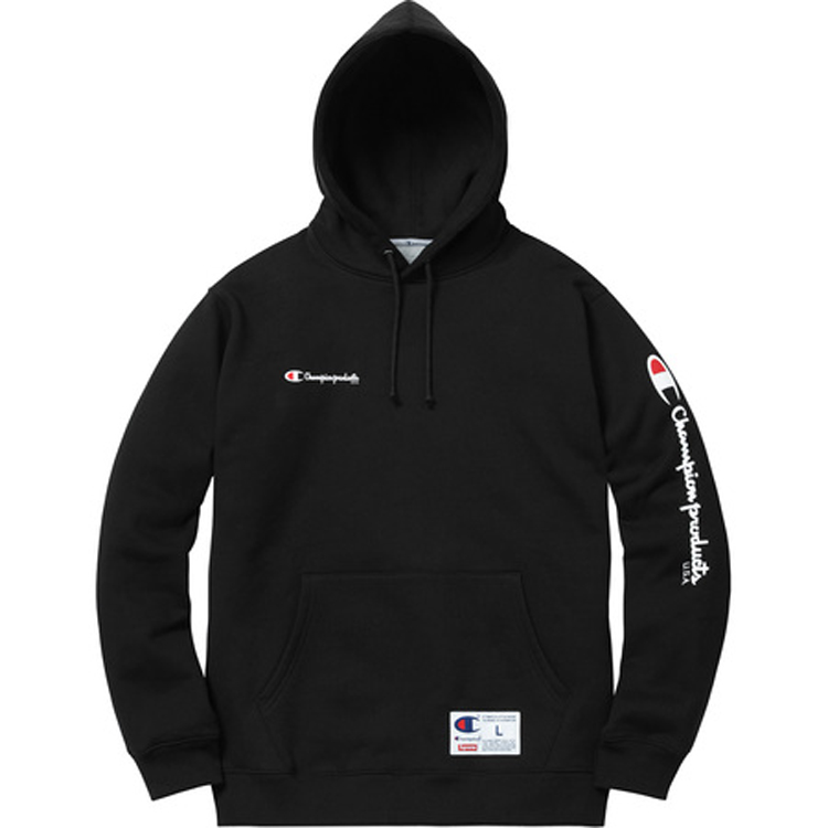 Supreme Champion Hooded Sweatshirt Black