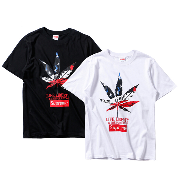 2017 new  Supreme Leaf Print T-Shirt 2 Color