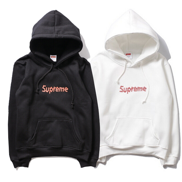 Supreme Splicing Logo Print  Hoodies 2 Color