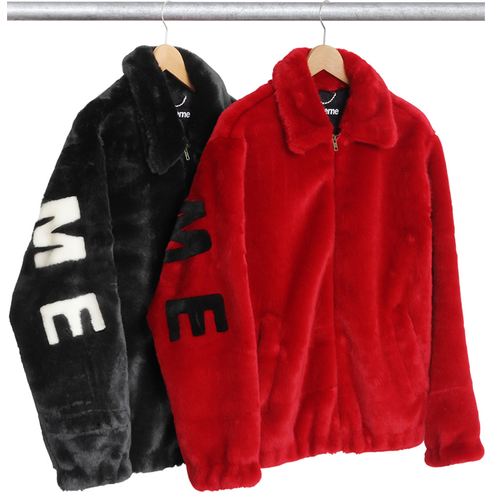 Supreme SS17 FAUX Fur Bomber Jacket Black/Red