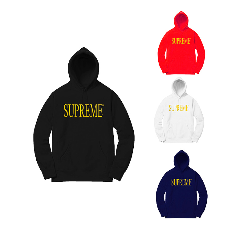 Supreme Gold Logo Hooded Sweatshirt 4 Color