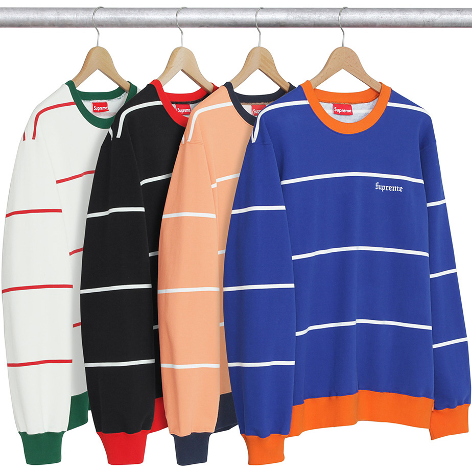 17FW Supreme Striped Crewneck 4 Color