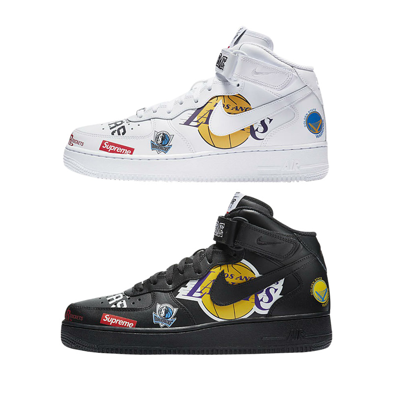 18SS Supreme X NBA X Nike Air Force 1 Graffiti Shoes 2 Color