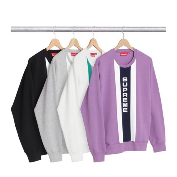 17SS Supreme Vertical Logo Panel Crewneck 4 Color