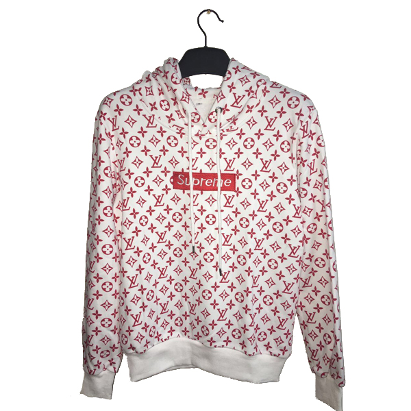 17SS Supreme X Louis Vuitton Hooded Sweatshirt White