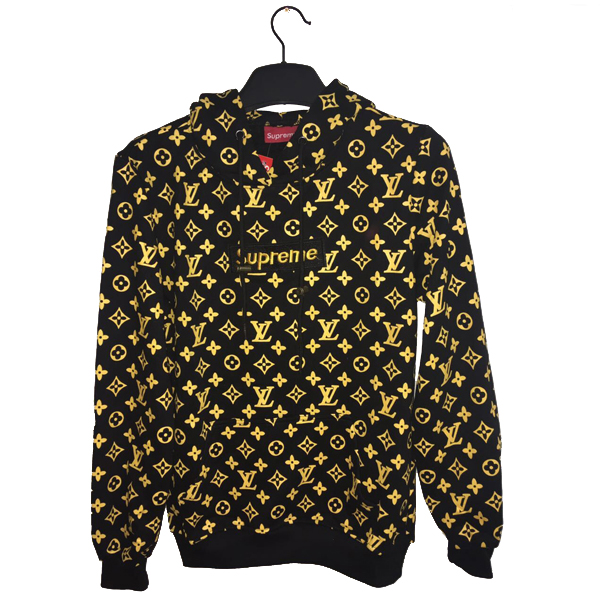 17SS Supreme X Louis Vuitton Hooded Sweatshirt Black/Gold