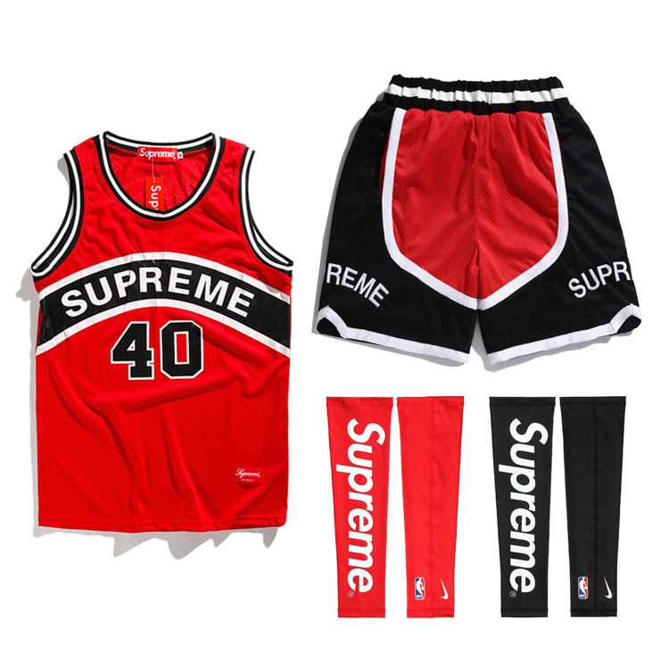 18SS Supreme Curve Basketball Jersey Red/Black