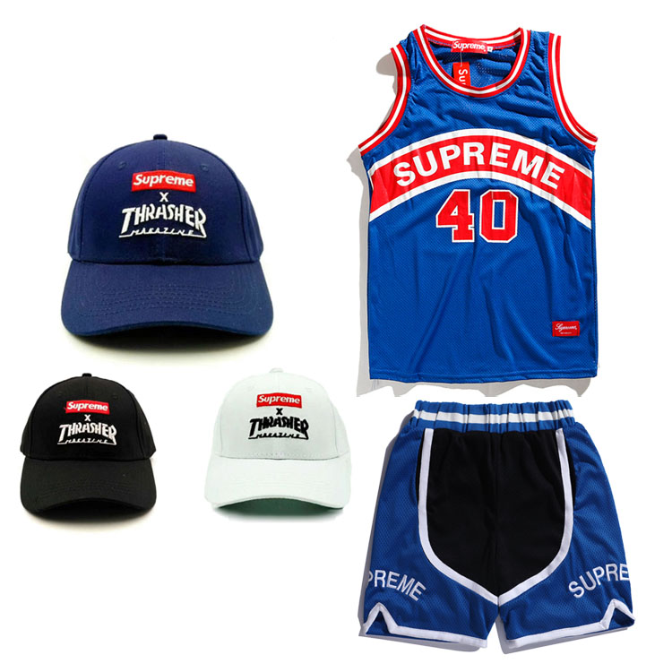19SS Supreme Curve Basketball Jersey Black/Blue