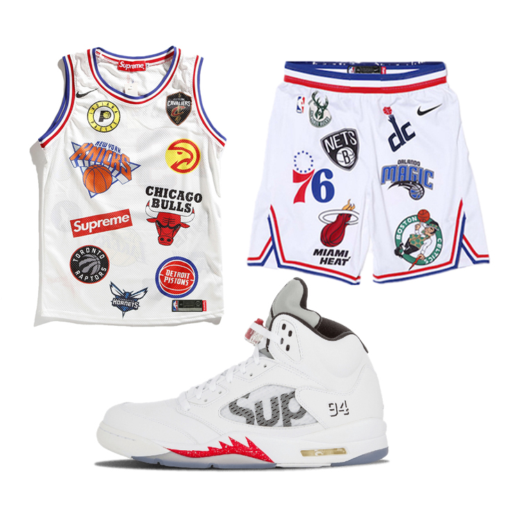 18SS Supreme X NBA X Nike Basketball Jersey White