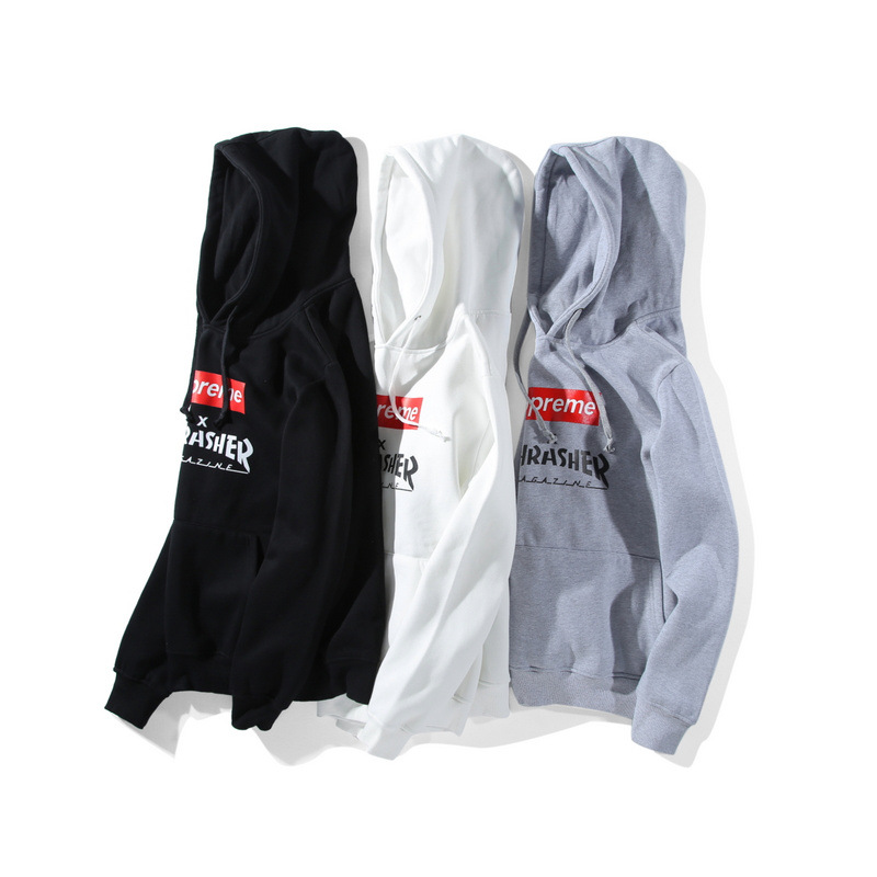 Supreme X Thrasher Plus Velvet Men/Women Hoodies 3 Color