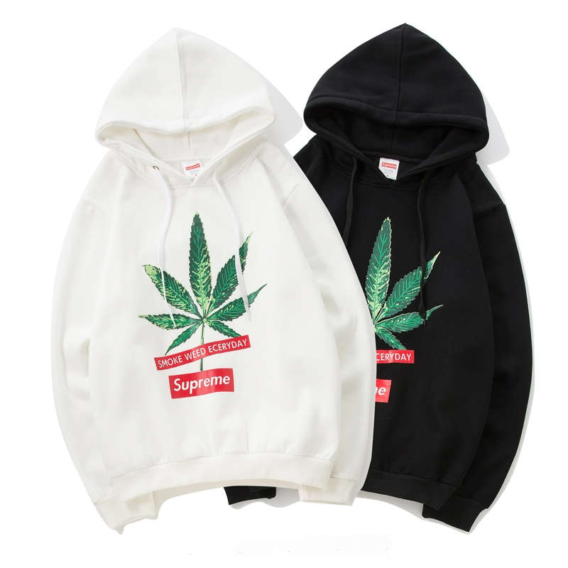17SS Supreme Logo Leaf  Hooded 2 Color
