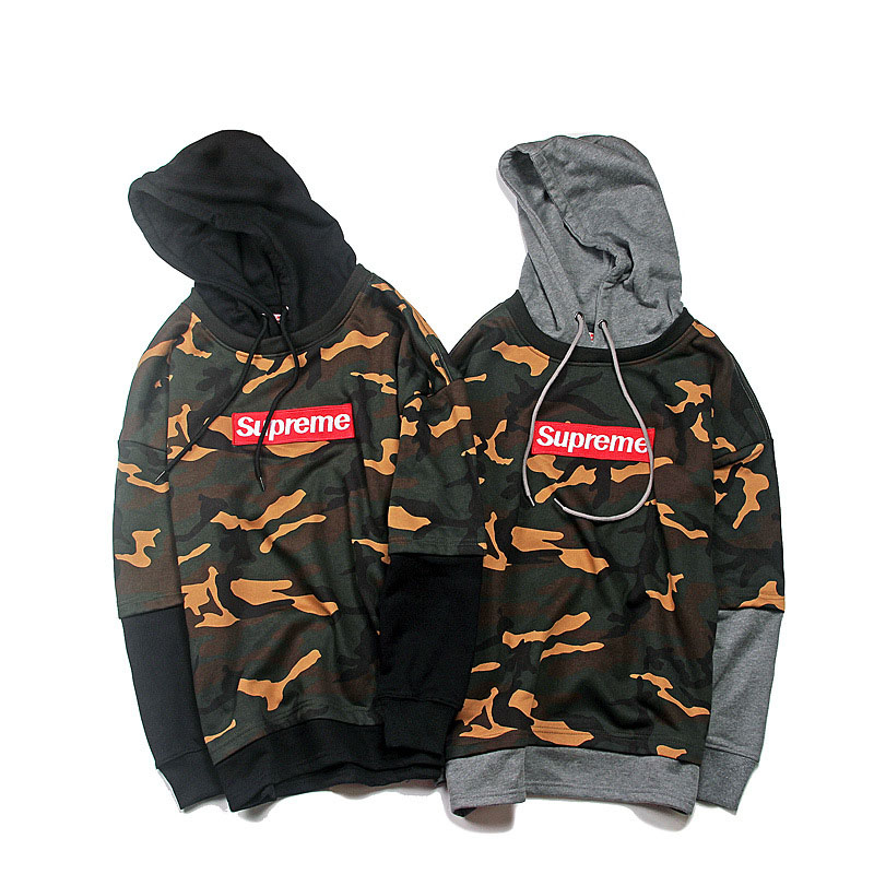 Supreme Camo False Two Hooded Sweater 2 Color