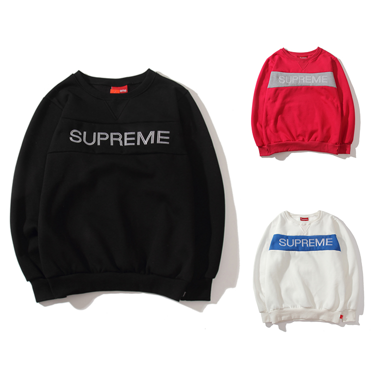17FW Supreme Zig Zag Crewneck Sweatshirt 3 Color