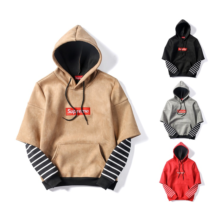 Supreme Suede Stripe Fake Two Pieces Hooded Sweatshirt  4 Color