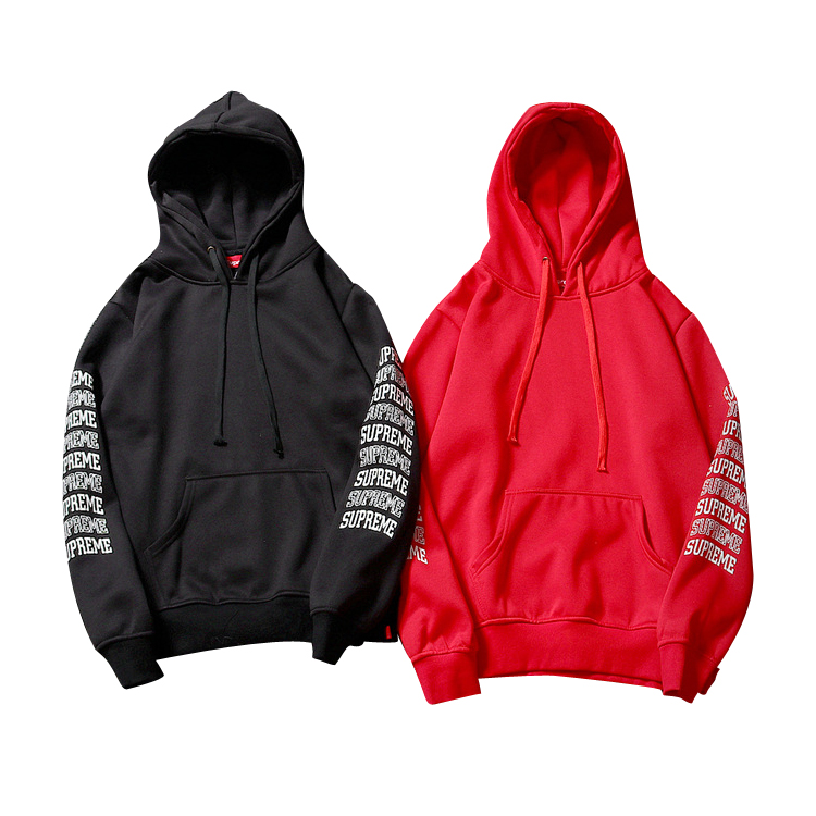 Supreme Sleeve Embroidery Plus Cashmere Hoodies 2 Color