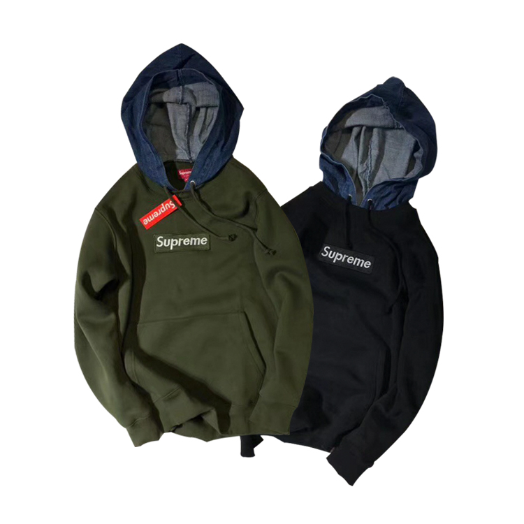 Supreme Box Logo Fake Two Pieces Hoodies 2 Color