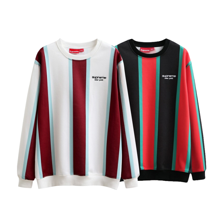 17FW Supreme Vertical Striped Crewneck Sweatshirt 2 Color