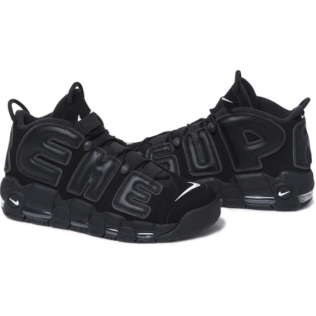 2017 New Supreme x Nike Air More Uptempo Black