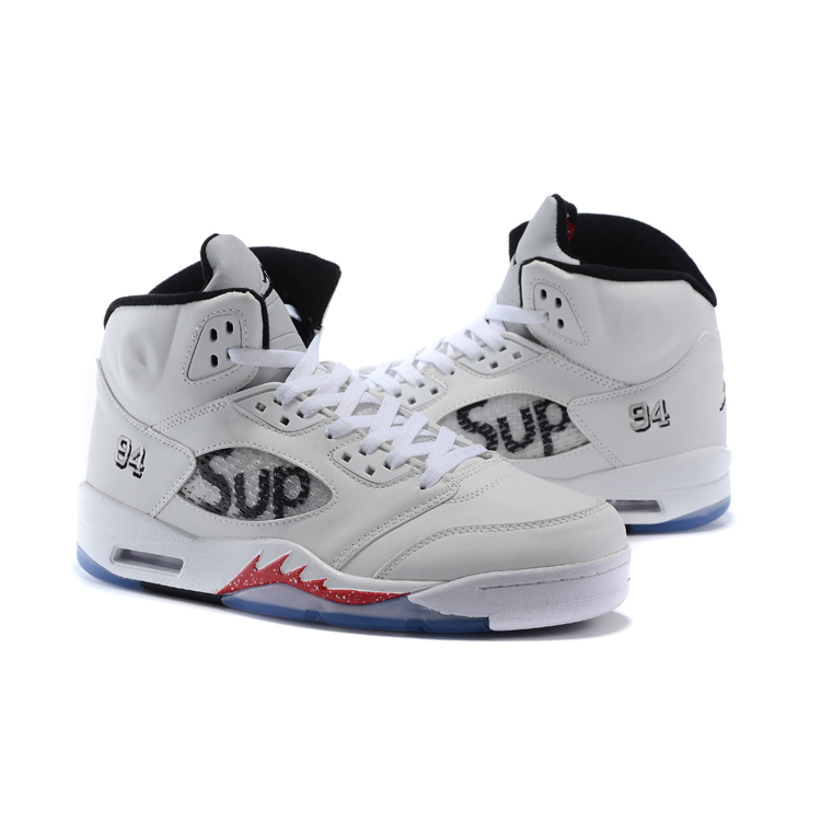 Supreme x Nike Air Jordan 5 Men Basketball Shoes White/Red