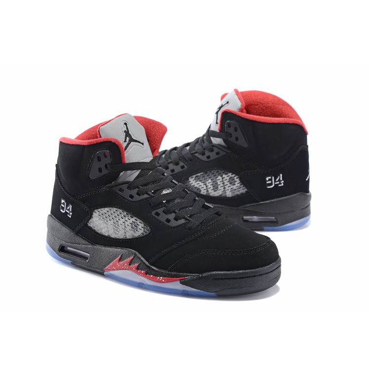 Supreme X Nike Air Jordan 5 Mens Sneaker Black / Red
