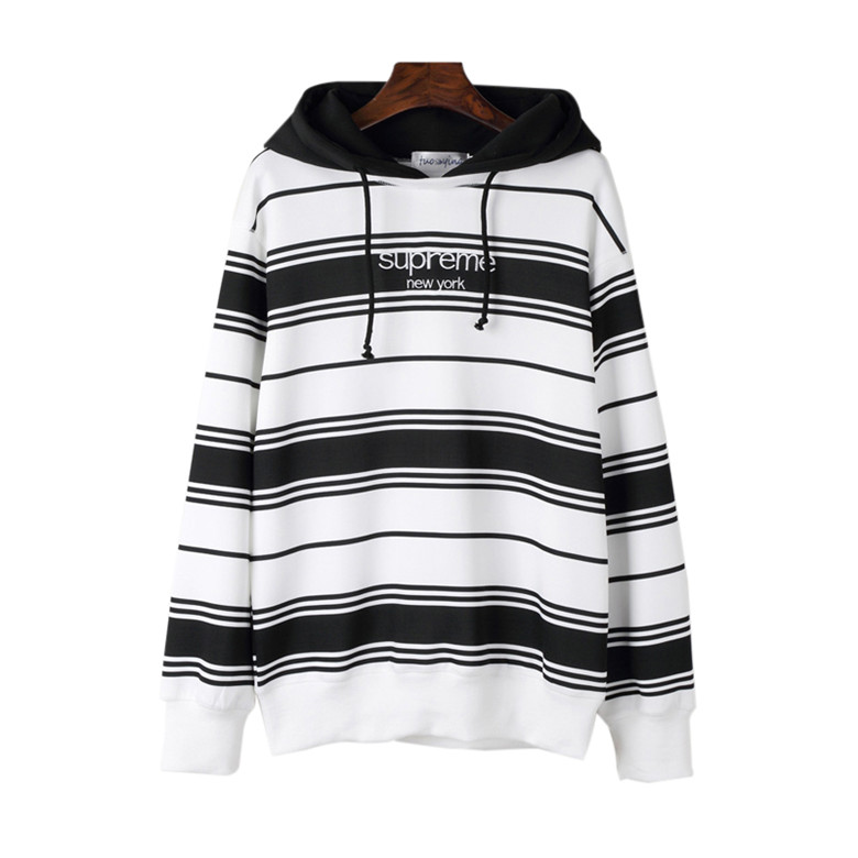 Supreme Striped Hooded  Sweatshirt  Black/White